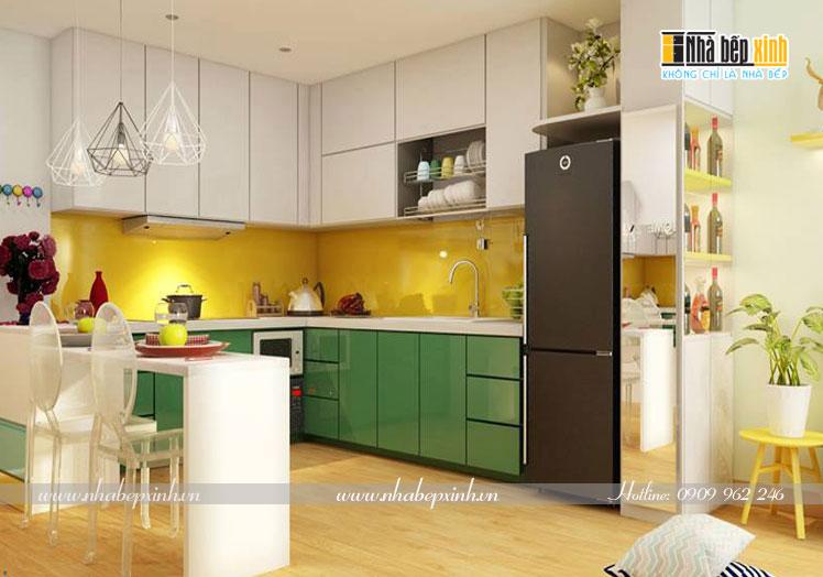 tủ bếp acrylic sơn màu d8