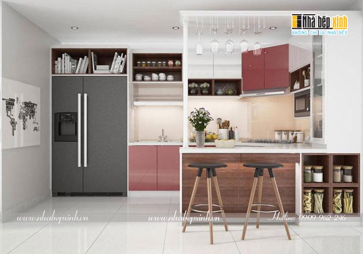 tủ bếp acrylic màu đỏ d7