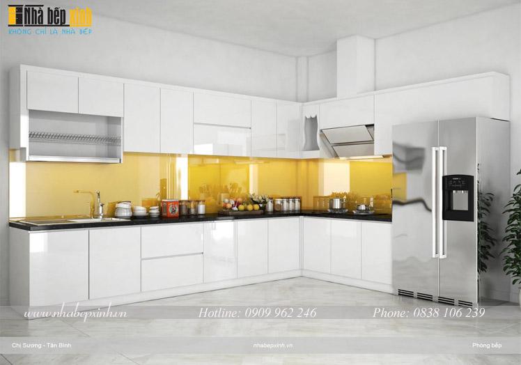 tủ bếp acrylic màu trắng d1