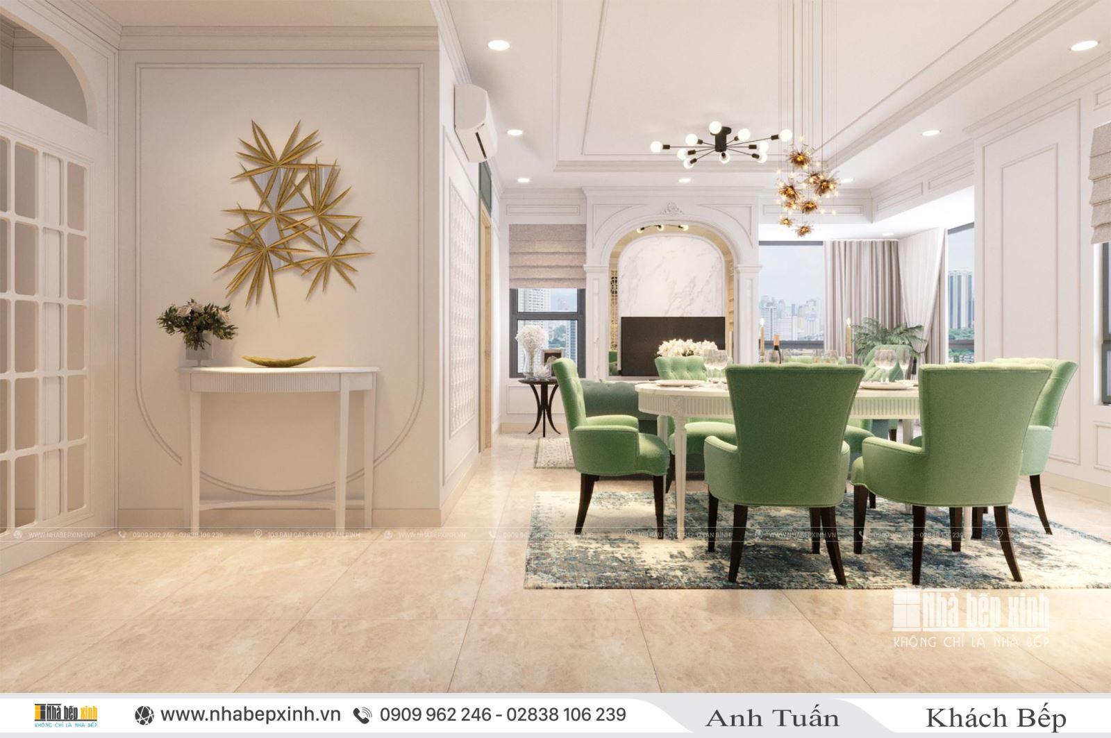 Nội thất phòng khách - bếp sang trọng - Phong cách tân cổ điển tại chung cư Emerald Celadon City