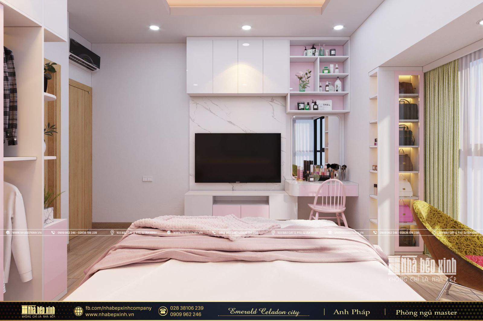 Nội thất phòng ngủ sang trọng tại Emerald Celadon City 104m2