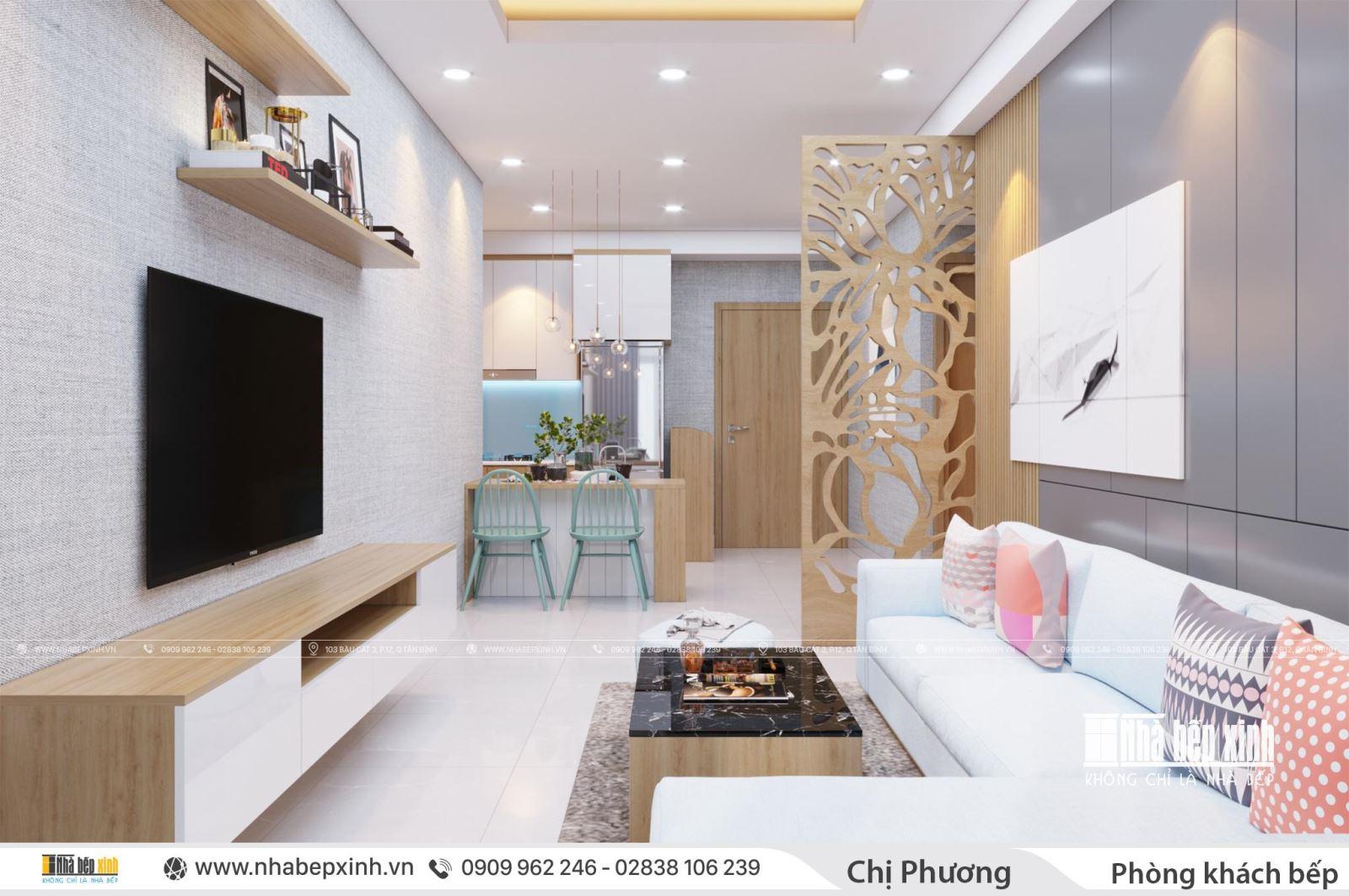 Phòng khách - bếp hiện đại tại chung cư Emerald Celadon City 63m2