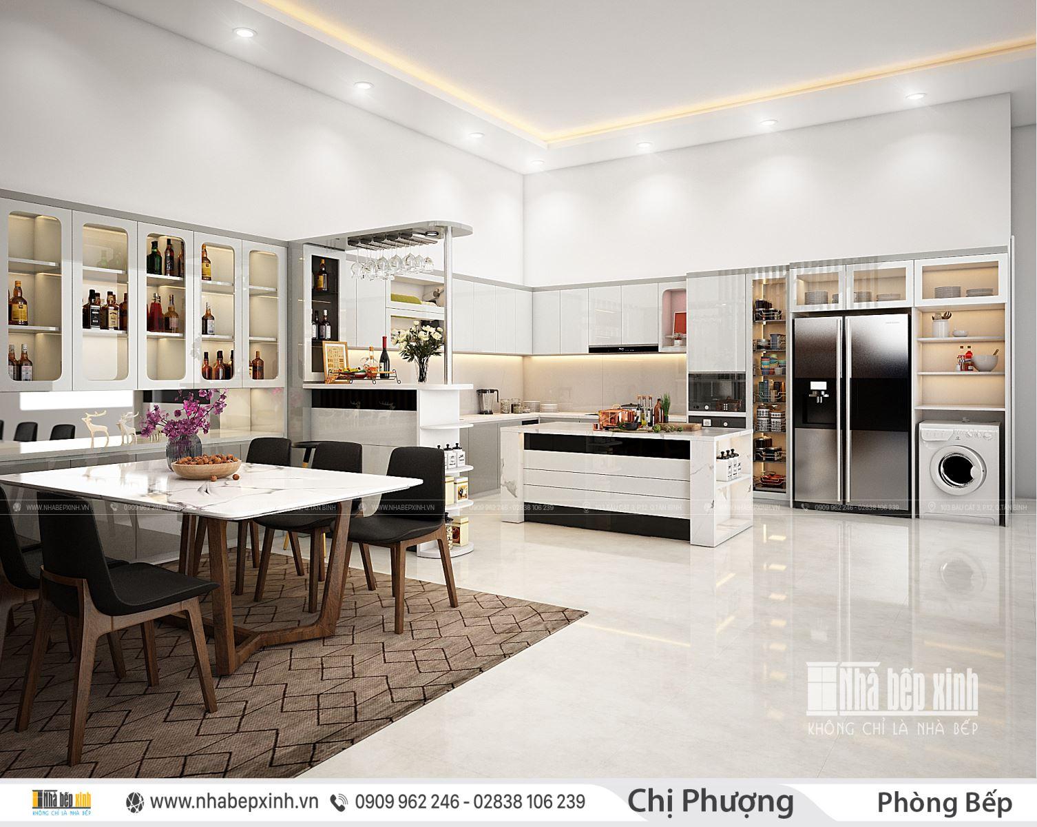 Tủ bếp kết hợp với bàn đảo tuyệt đẹp