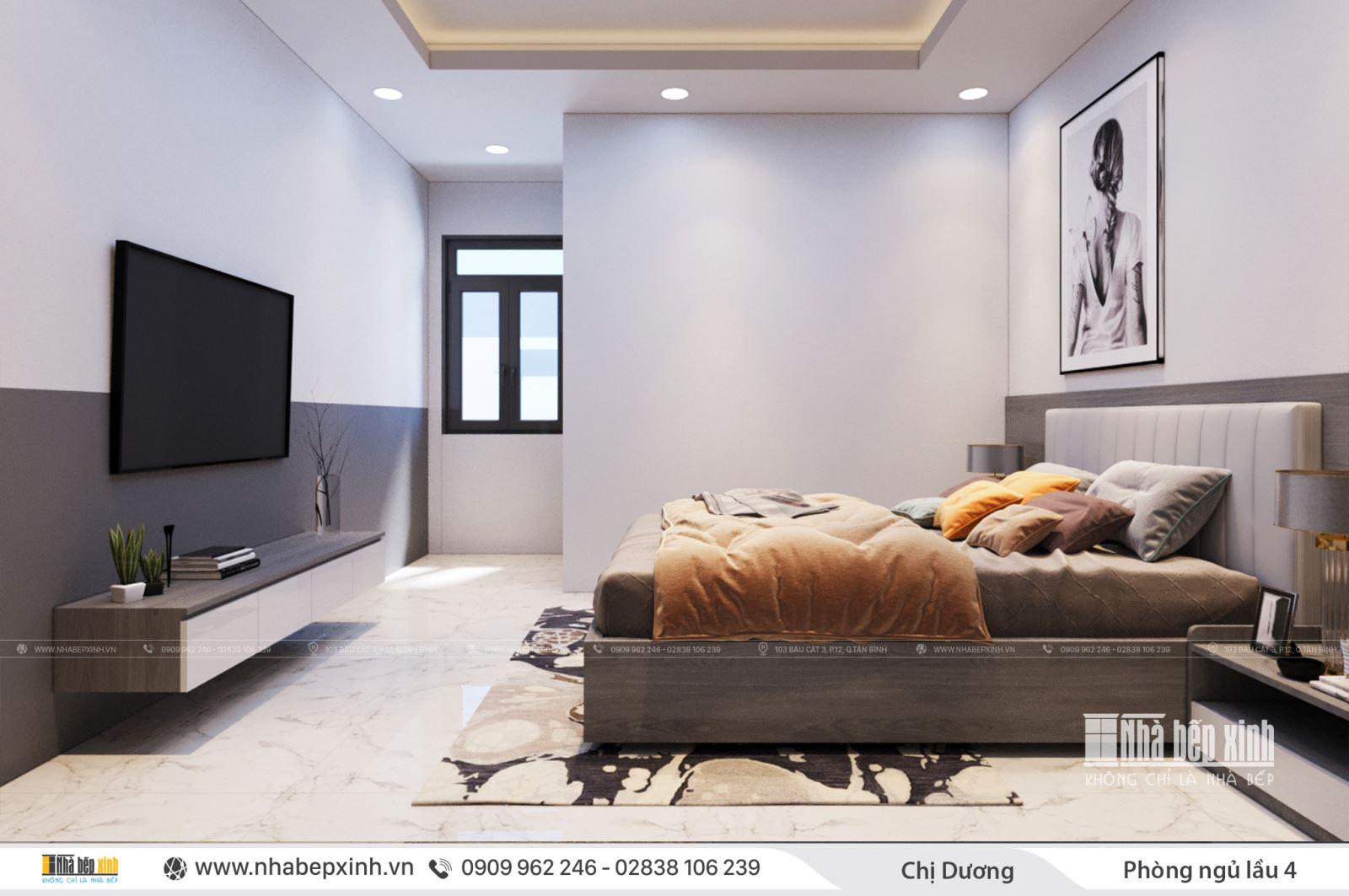 Thiết kế phòng ngủ đẹp hiện đại nhà chị Dương