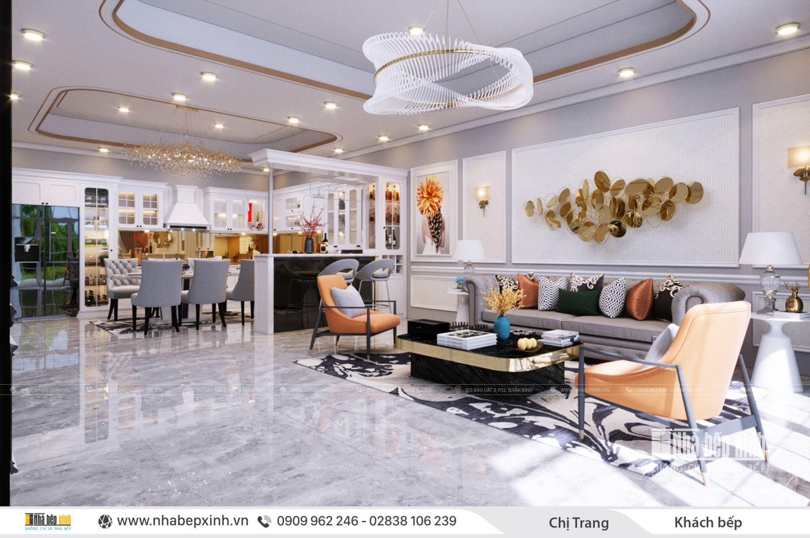 Các mẫu thiết kế nội thất phòng khách bếp
