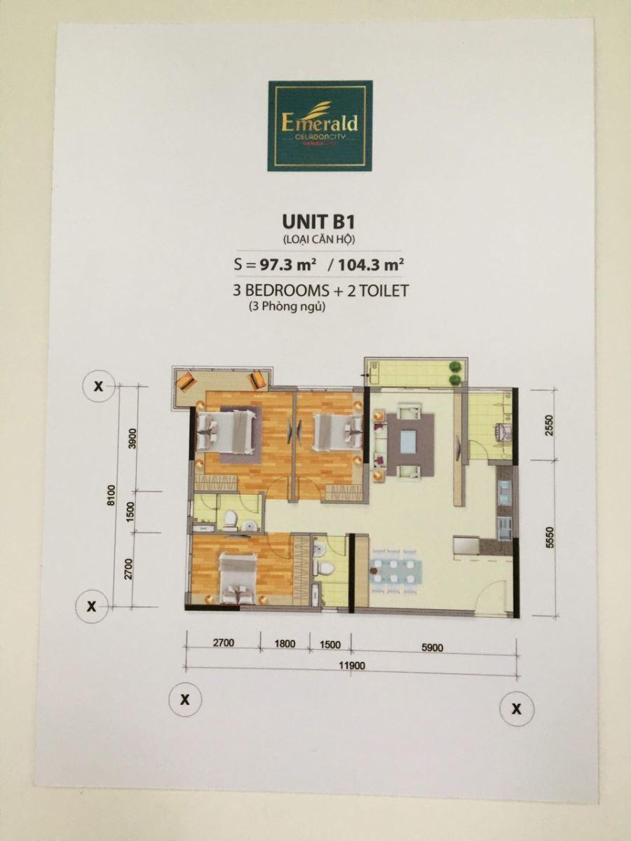 Nội Thất Căn 104m2 Chung cư Emerald Ceradon City