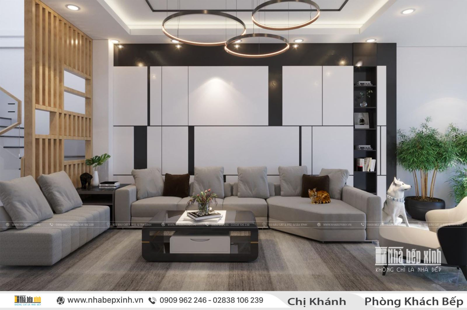 Mẫu thiết kế nội thất phòng khách nhà chị Khánh tại Tân Phú