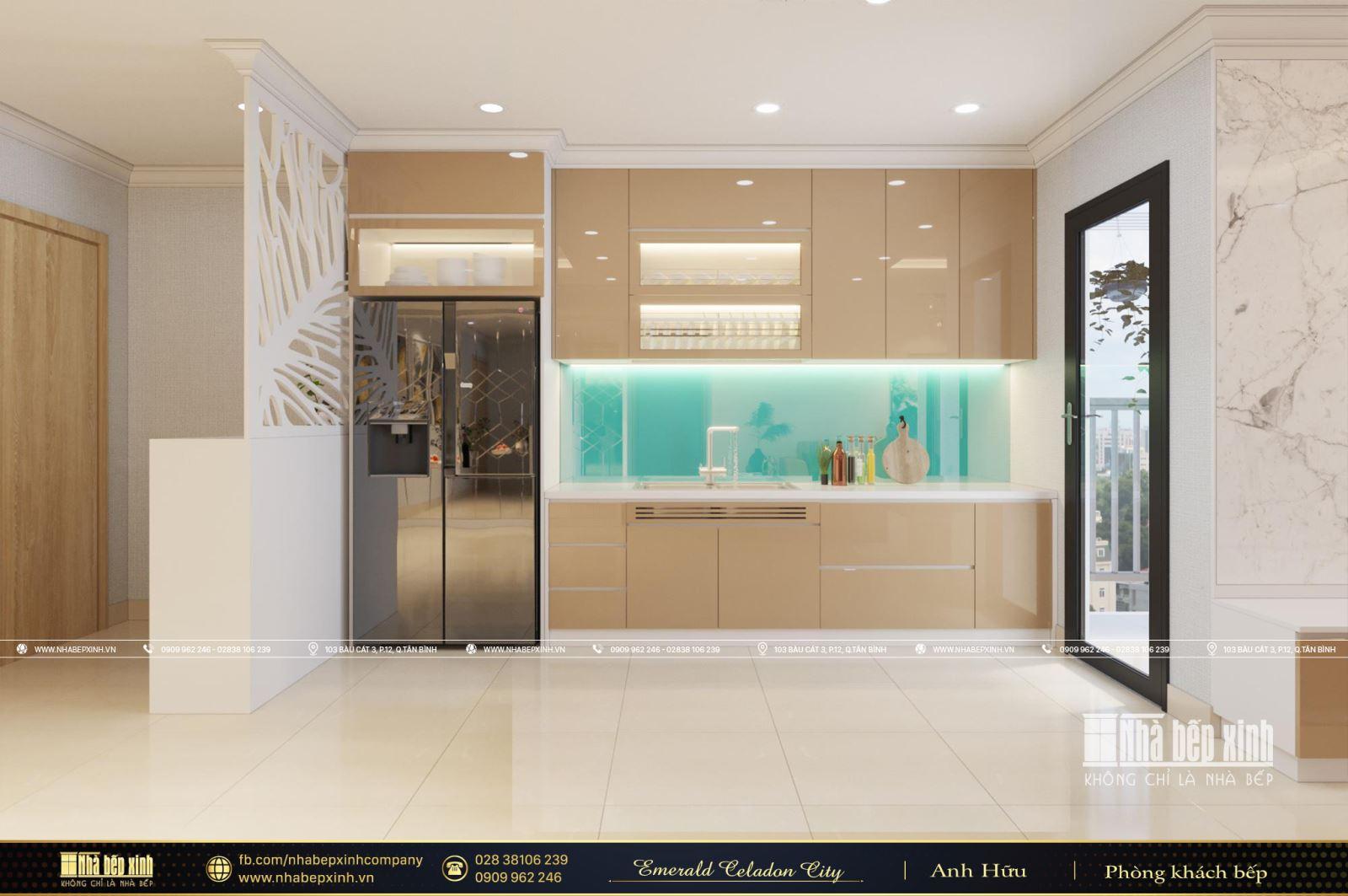 Nội thất phòng khách bếp hiện đại căn Vẻ đẹp cuốn hút từ mẫu thiết kế nội thất hiện đại căn Emerald Celadon City 104m2Celadon City 104m2