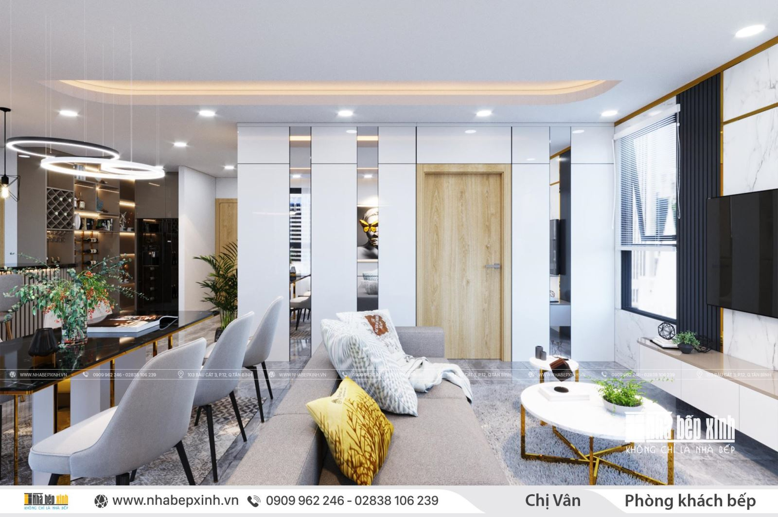 Thiết kế nội thất nguyên căn hiện đại tại Emerald Celadon City 106m2