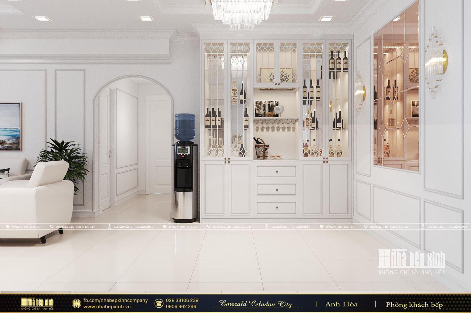Thiết kế nội thất trọn gói tại Emerald Celadon City 84m2 mang phong cách tân cổ điển