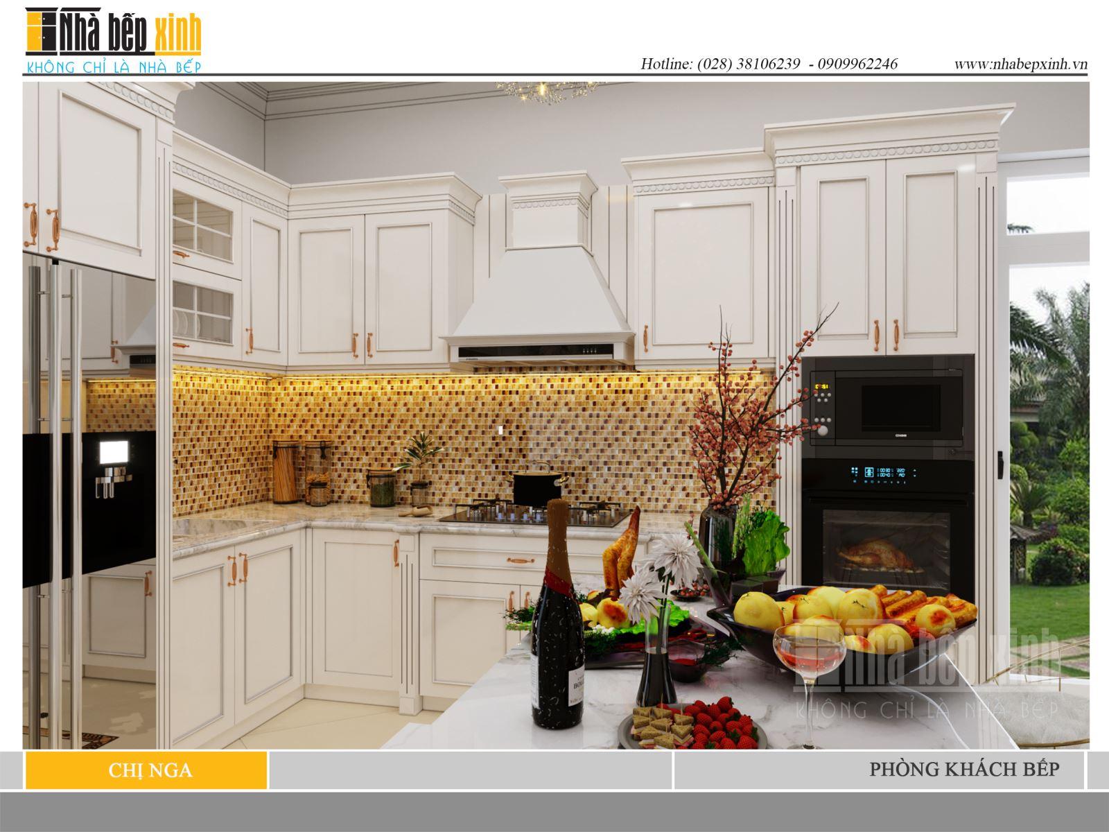 Phòng khách - bếp phong cách tân cổ điển