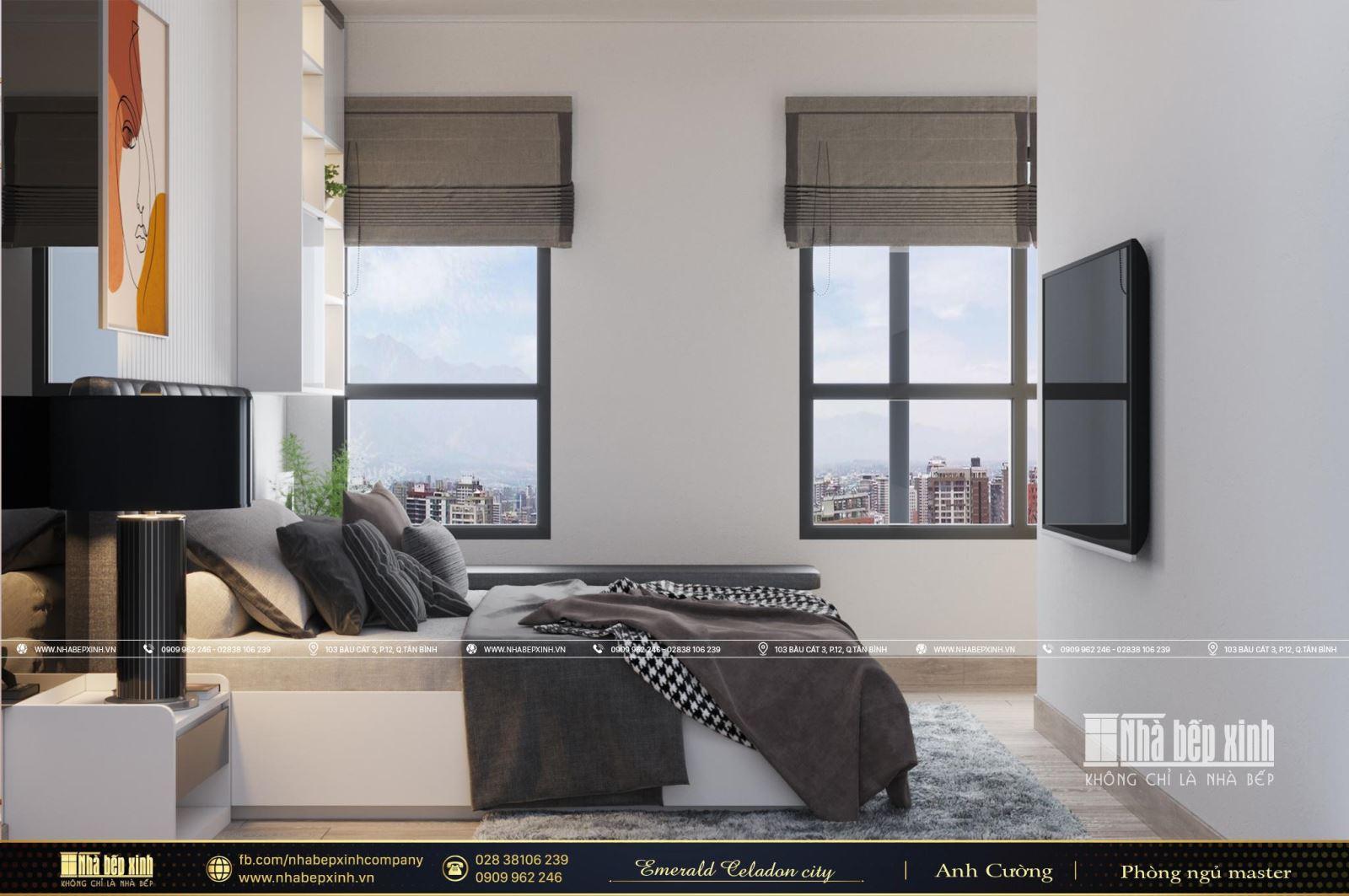 Phòng ngủ Master sang trọng tại căn Duplex Emerald Celedon City 112m2