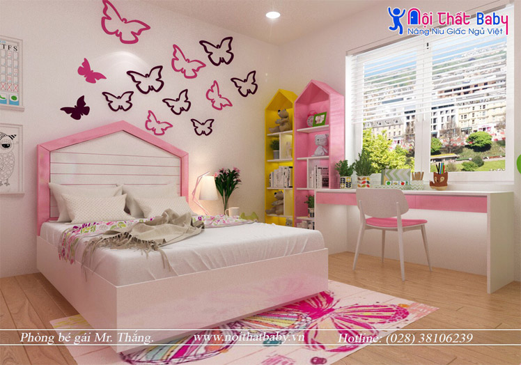 Hình ảnh Phòng Ngủ Bé Màu Hồng Xinh Xắn Nội Thất Baby