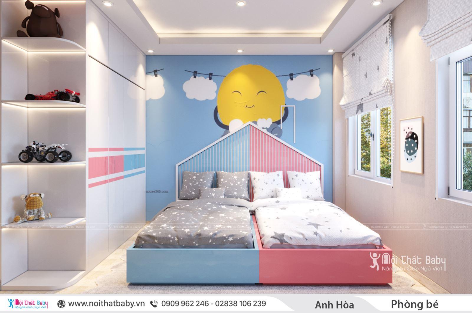 Phòng ngủ cho hai bé tông màu xanh hồng
