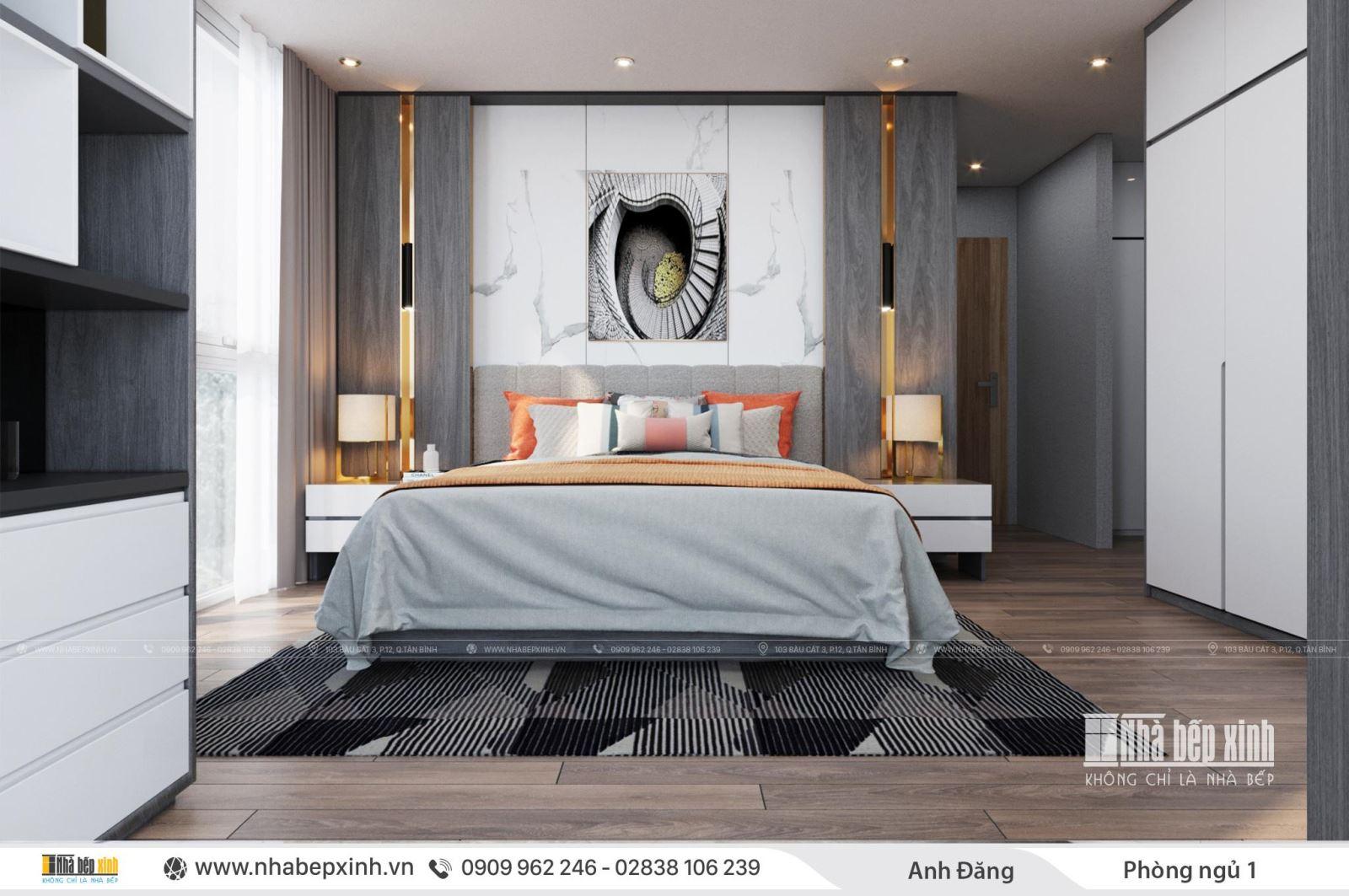 Thiết kế nội thất phòng ngủ hiện đại tiện nghi tại quận Bình Thạnh