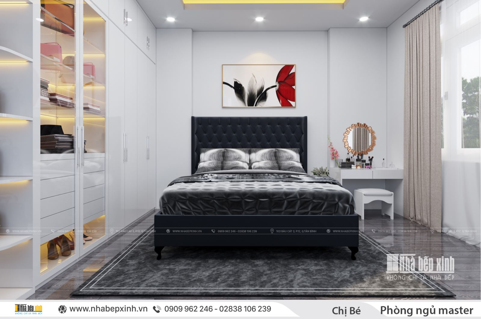 Phòng ngủ master tông màu đen huyền bí