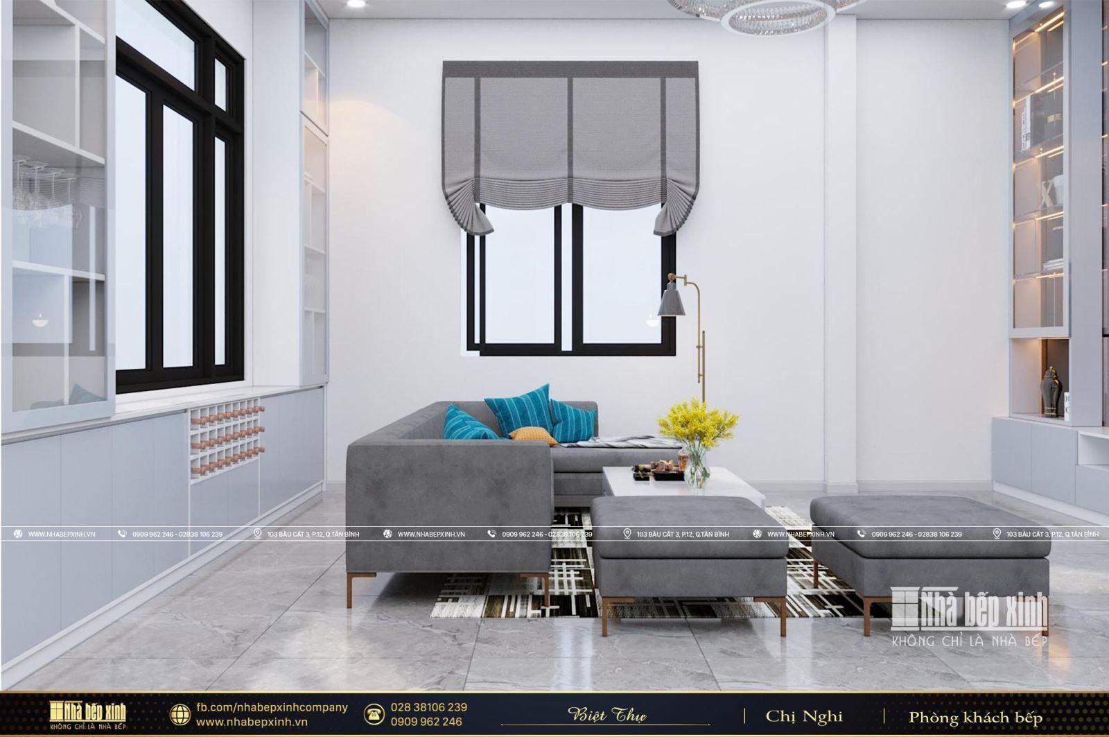 Thiết kế nội thất phòng khách bếp hiện đại tại Cà Mau