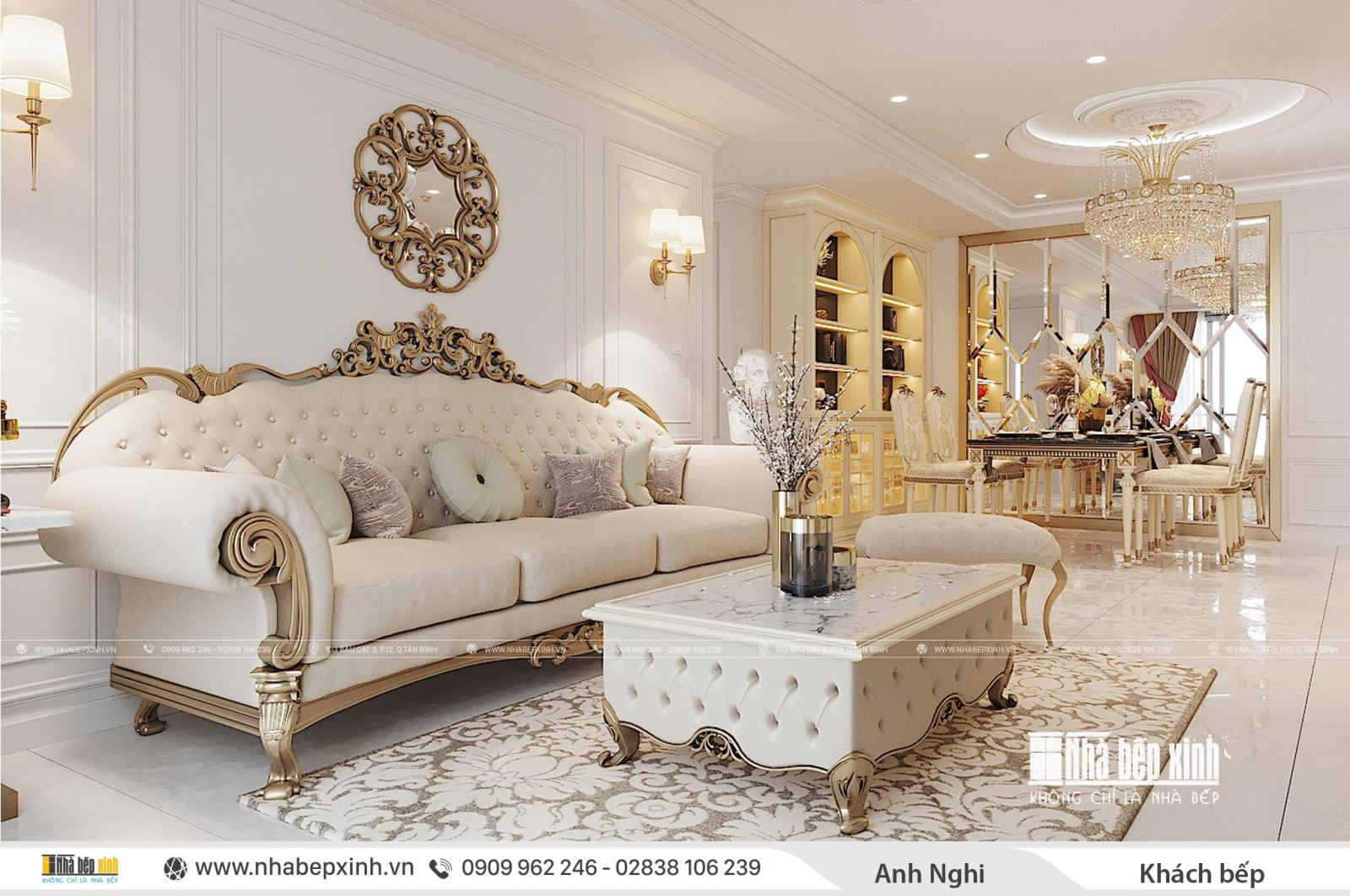 Thiết kế nội thất phòng khách bếp tân cổ điển đẹp tại Emerald Celadon City 104m2