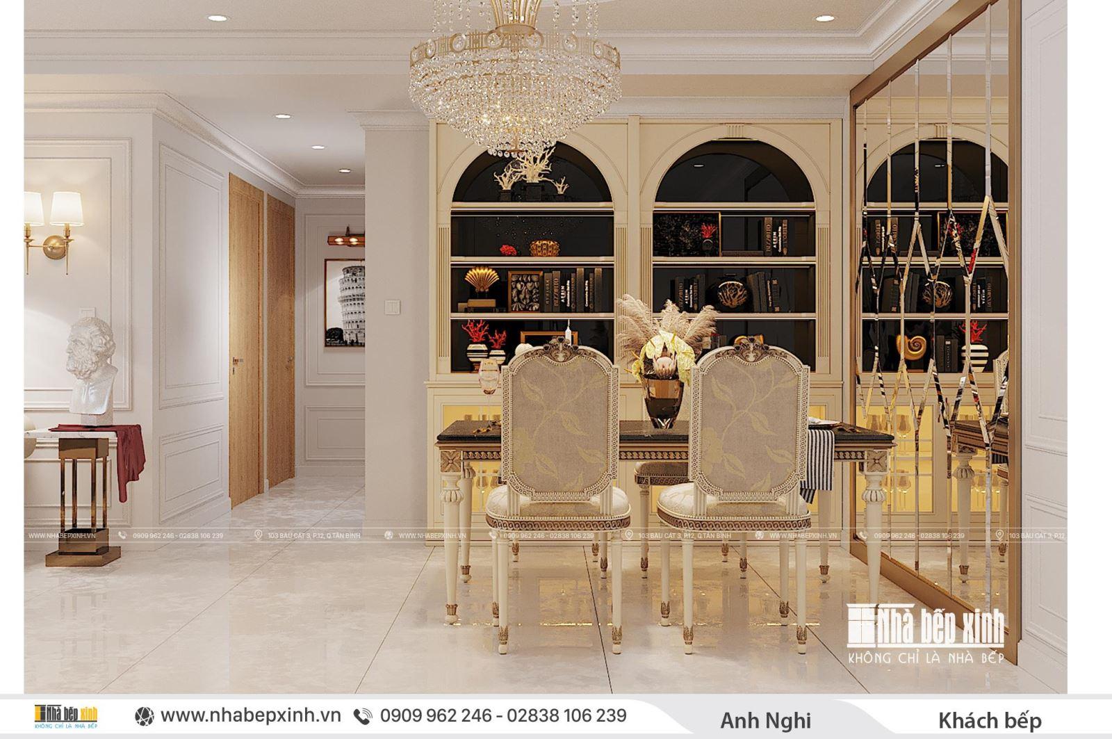 Vẻ đẹp sang trọng trong phong cách thiết kế nội thất tân cổ điển tại Emerald Celadon City 104m2