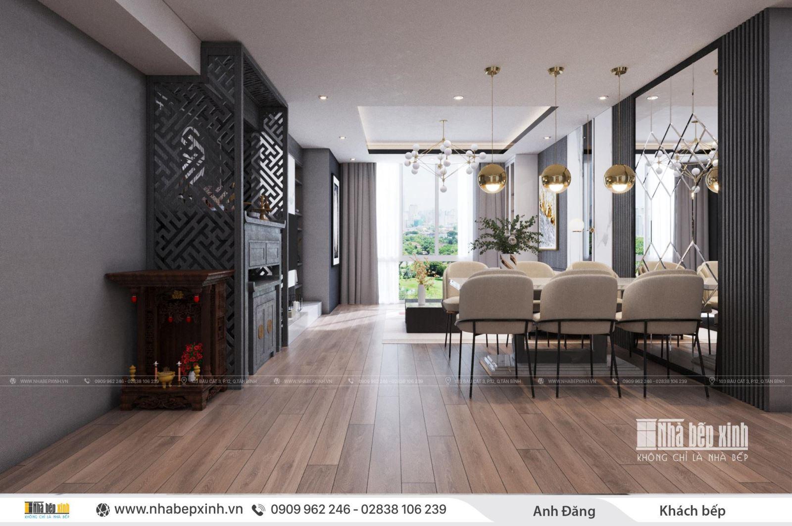 Thiết kế nội thất phòng khách nhà phố quận Bình Thạnh