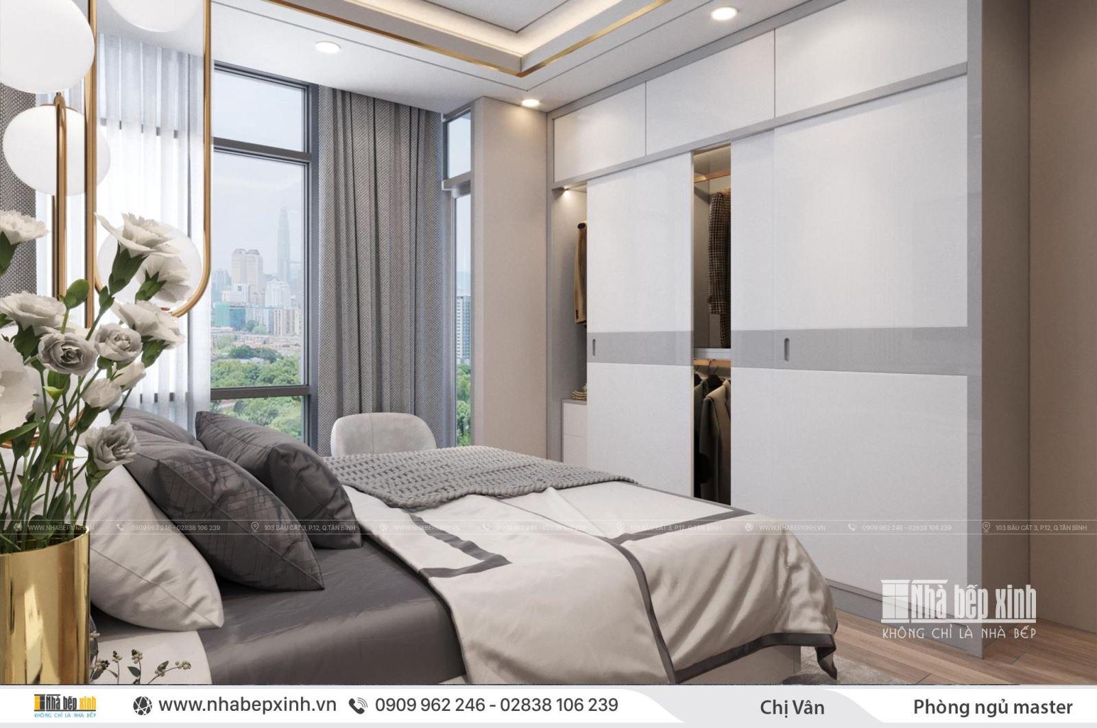Thiết kế nội thất phòng ngủ master - chị Vân