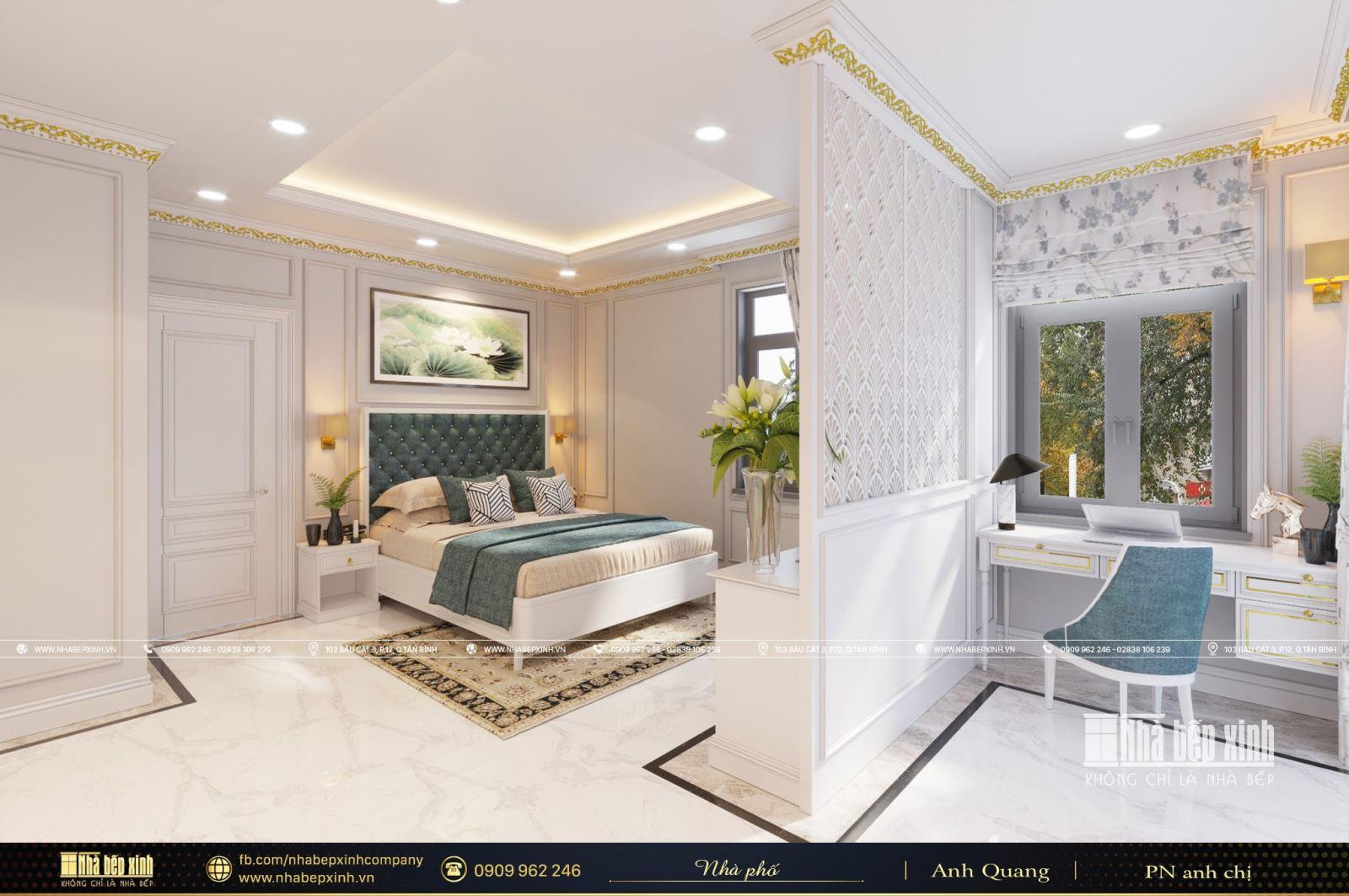 Thiết kế nội thất phòng ngủ tân cổ điển đẹp tại Bình Chánh