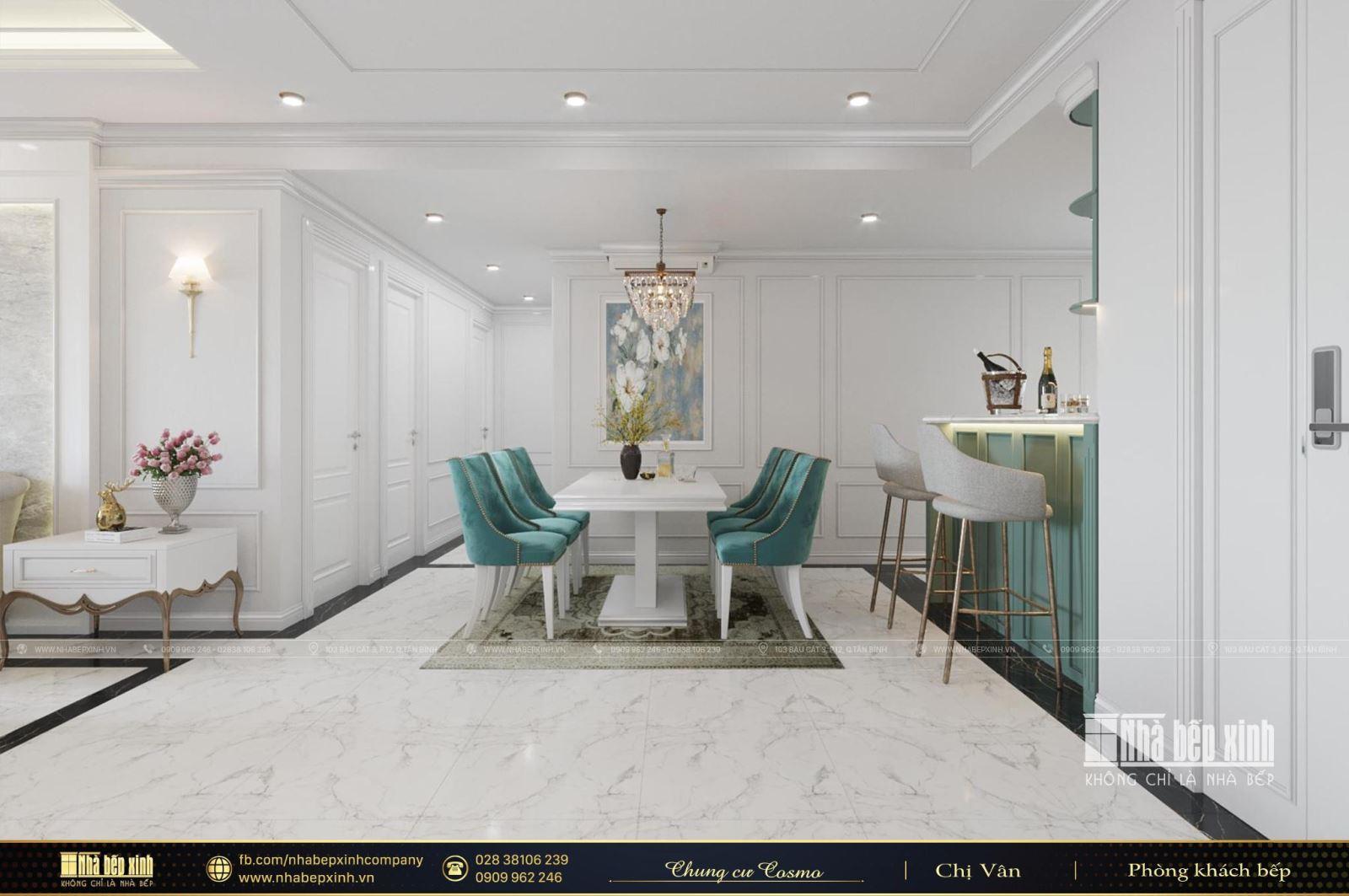 Thiết kế nội thất chung cư Cosmo City Quận 7 129m2 sang trọng trong phong cách tân cổ điển