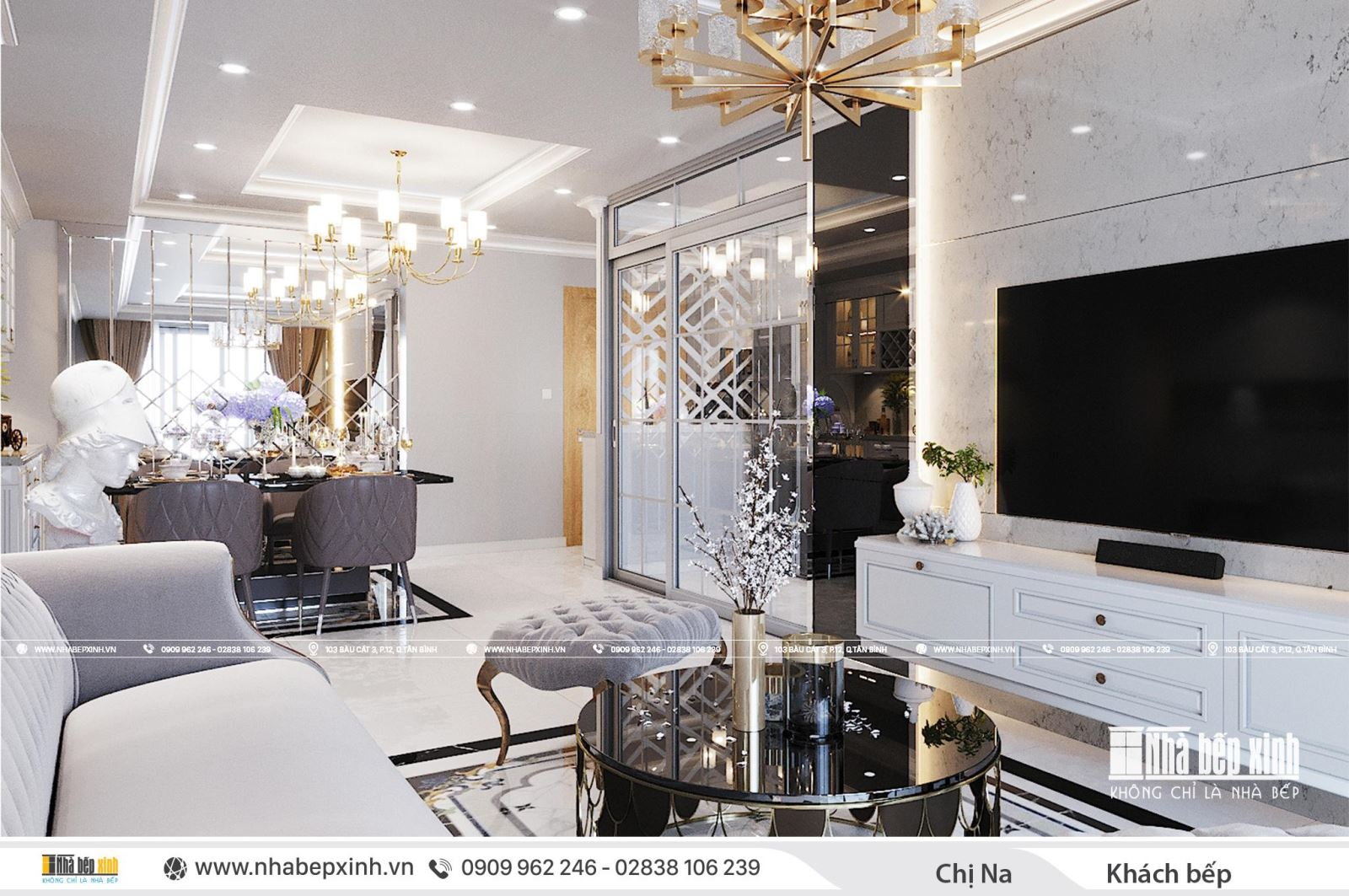 Thiết kế phòng khách bếp tân cổ điển tại Emerald Celadon City 104m2