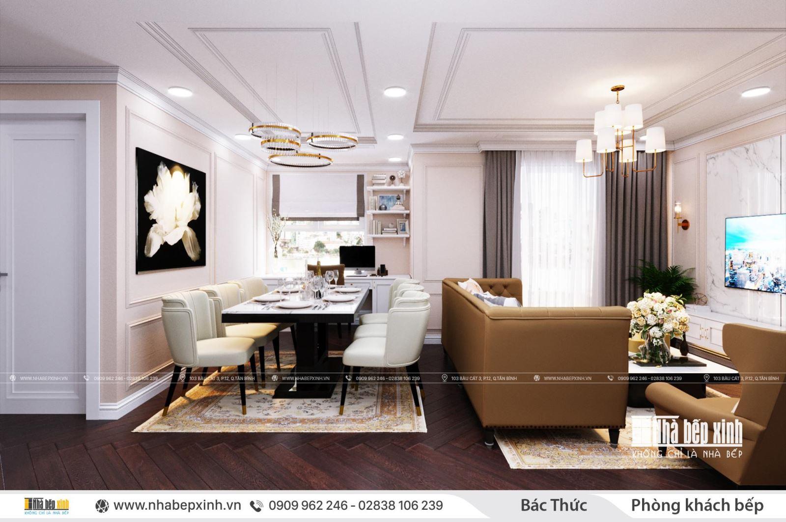Thiết kế nội thất nguyên căn - phong cách tân cổ điển tại Saigon South Residences
