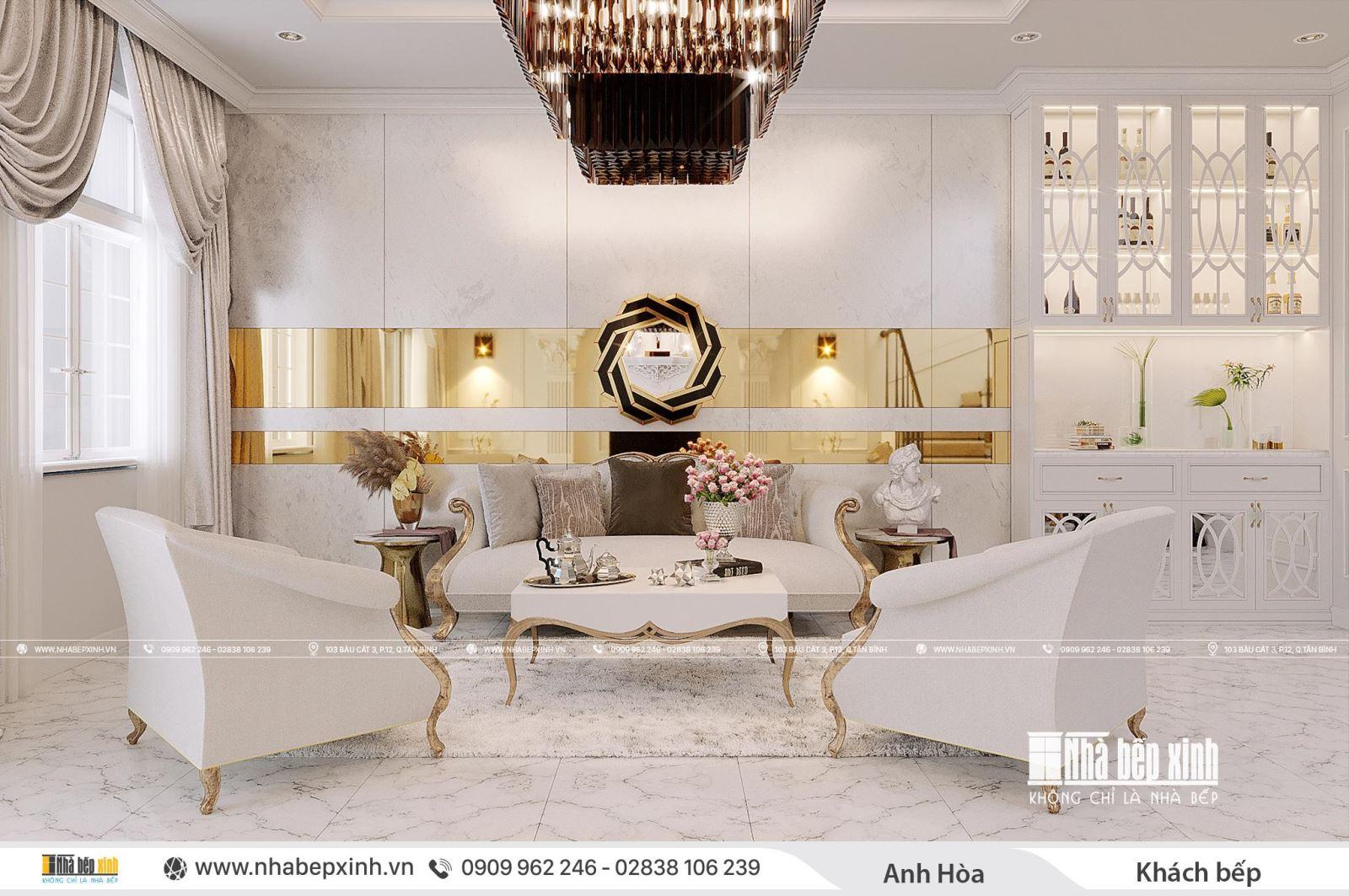 Thiết kế và thi công nội thất trọn gói đẹp mang phong cách tân cổ điển