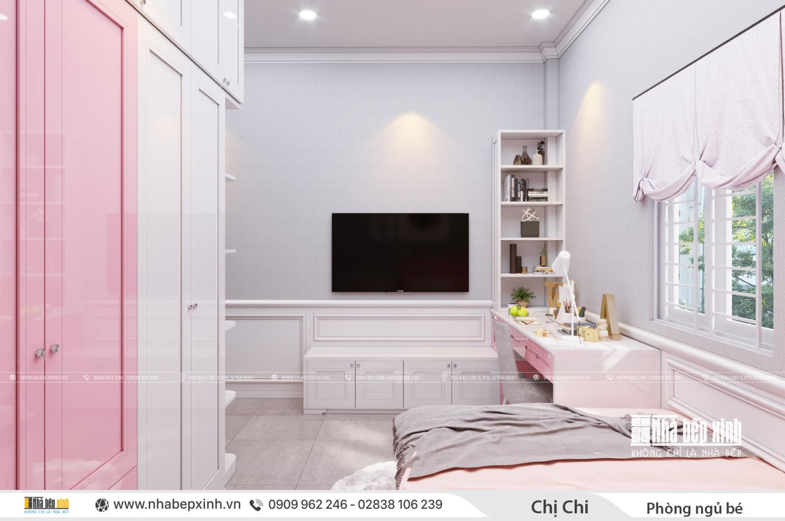Thiết kế nội thất phòng ngủ bé gái đẹp