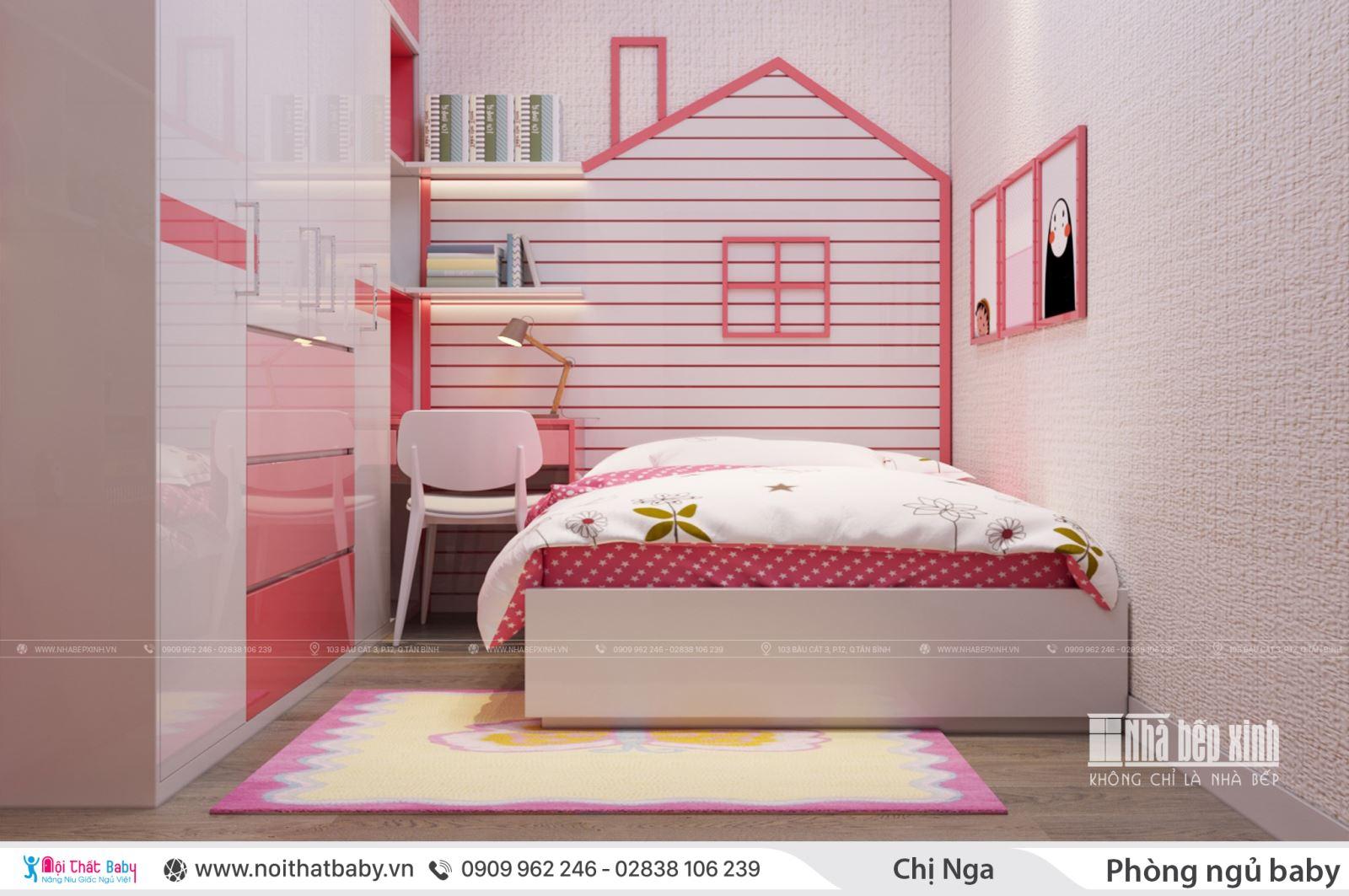 Thiết kế phòng ngủ cho bé tông màu hồng baby dễ thương