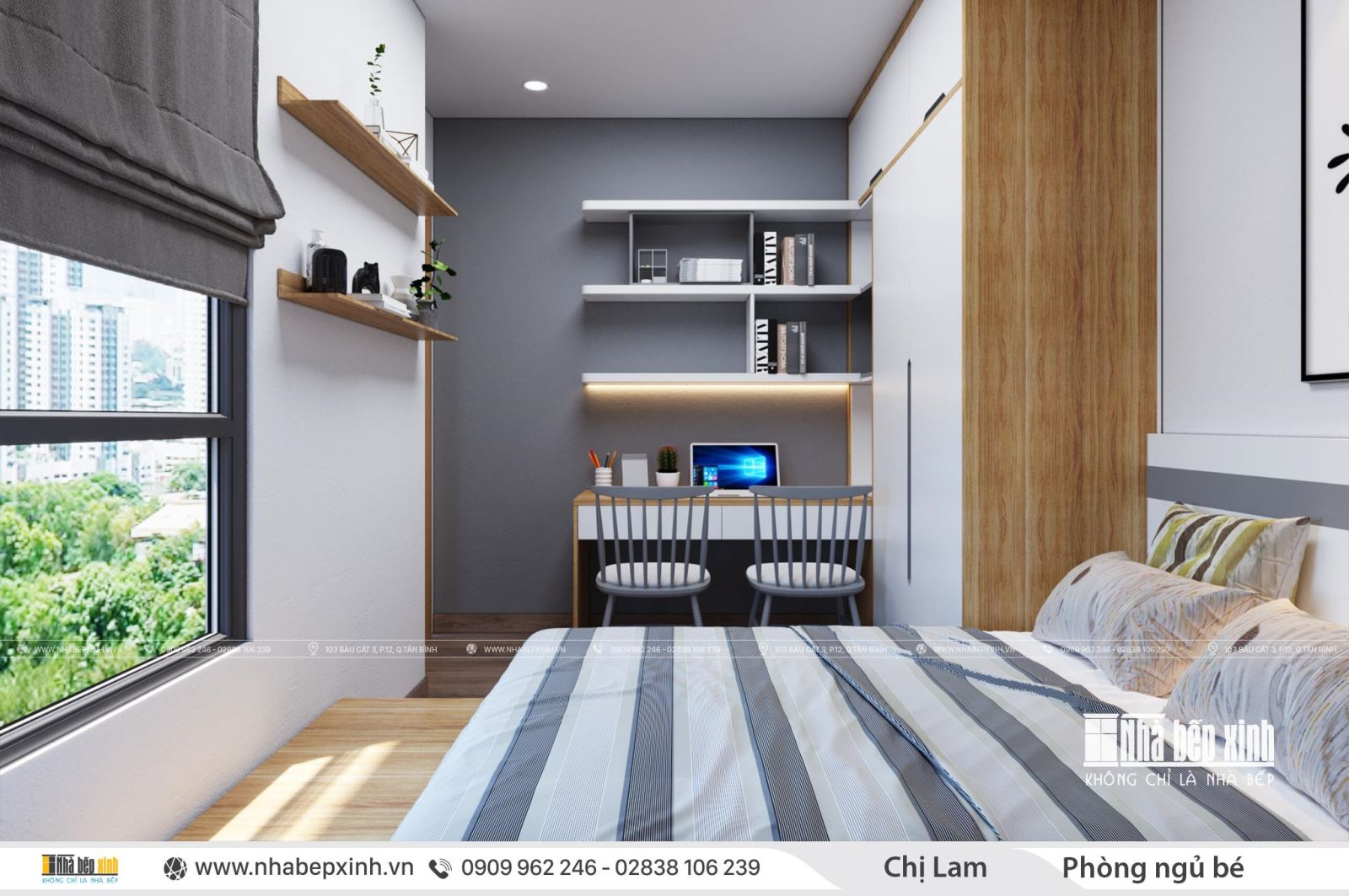 Mẫu thiết kế nội thất căn hộ chung cư hiện đại tại Emerald Celadon City 74m2