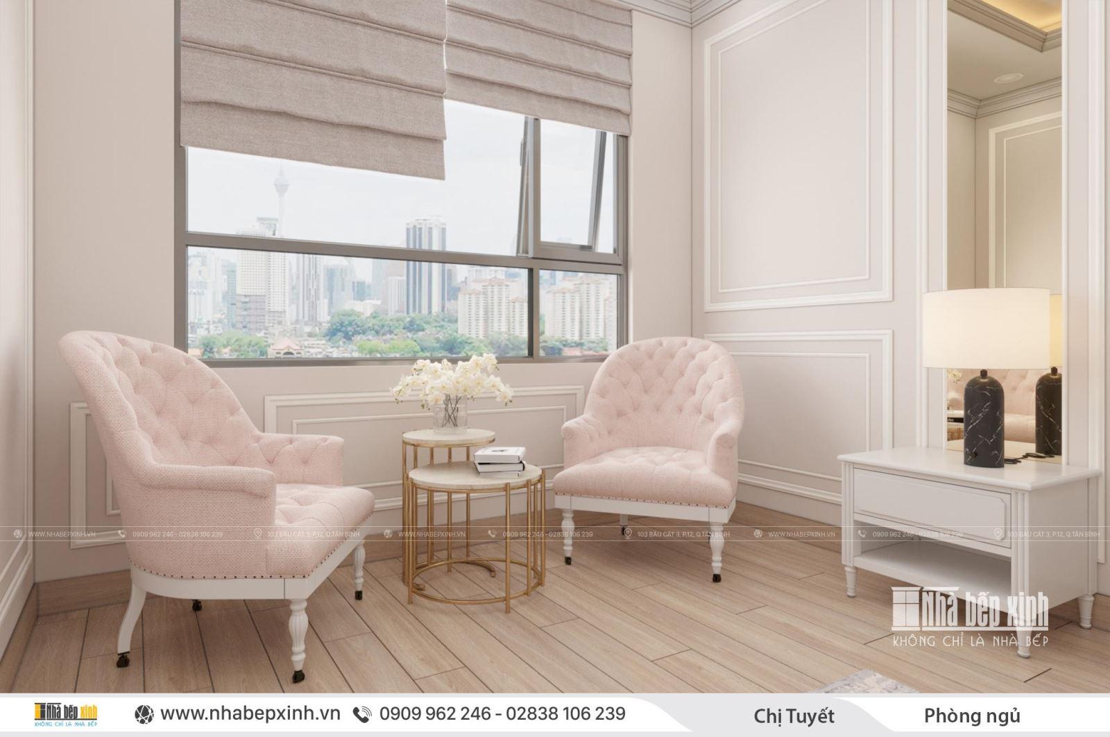 Thiết kế nội thất căn hộ chung cư tân cổ điển sang trọng