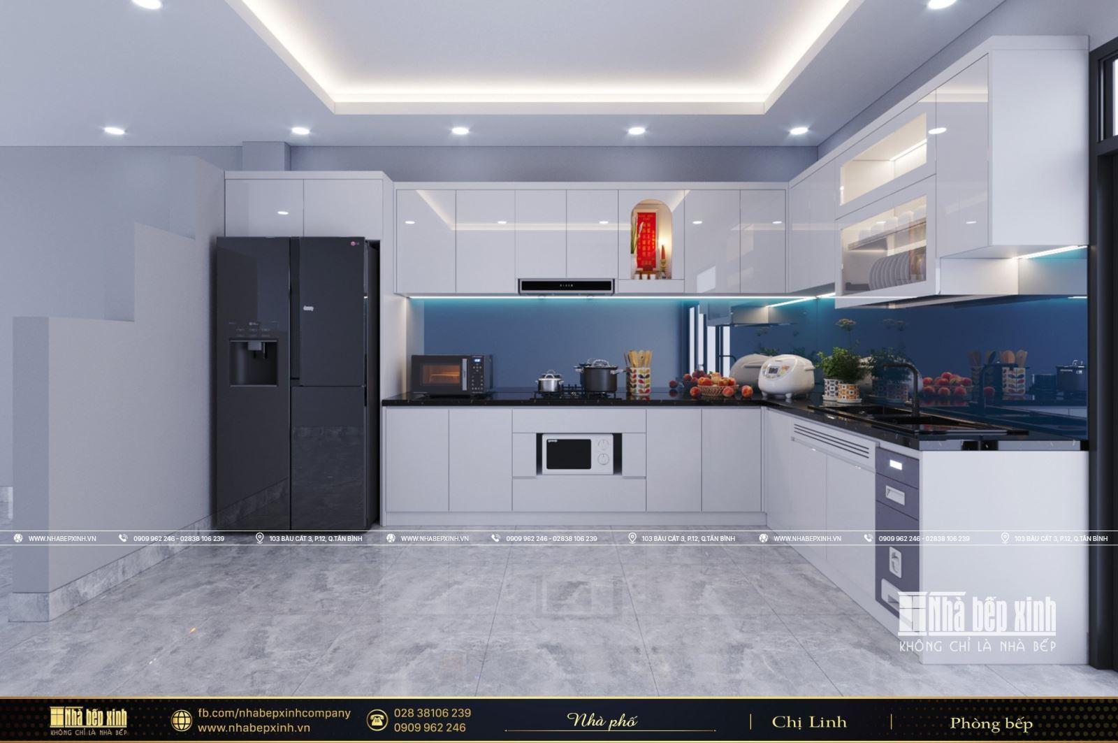 Thiết kế tủ bếp hiện đại kết hợp bàn đảo