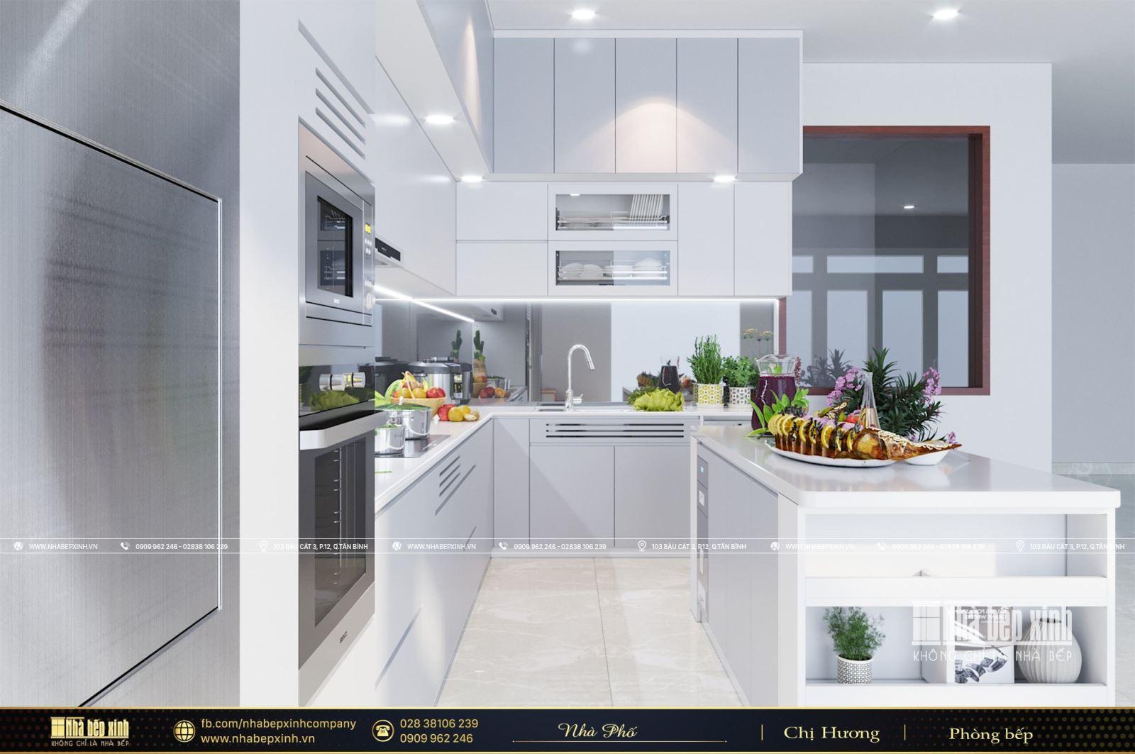 Thiết kế tủ bếp kết hợp bàn đảo tuyệt đẹp