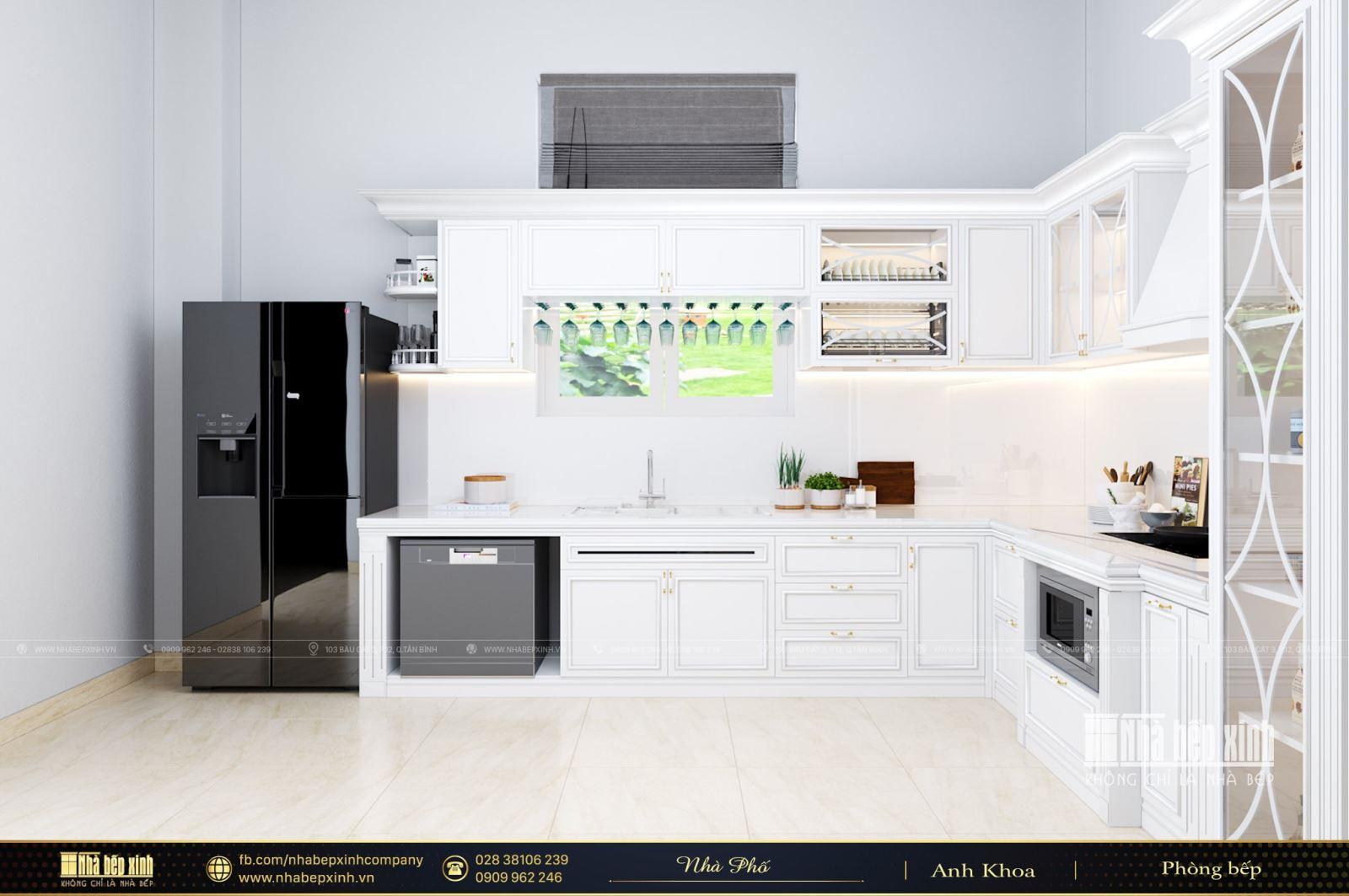 Thiết kế tủ bếp tân cổ điển màu trắng sang trọng