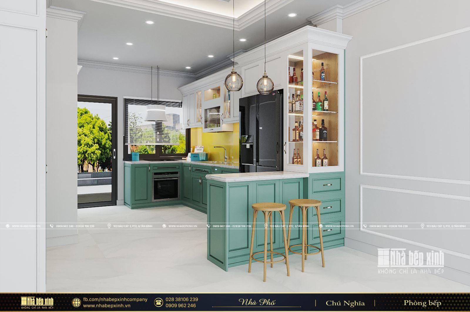 Thiết kế tủ bếp tân cổ điển sang trọng tại Quận 8