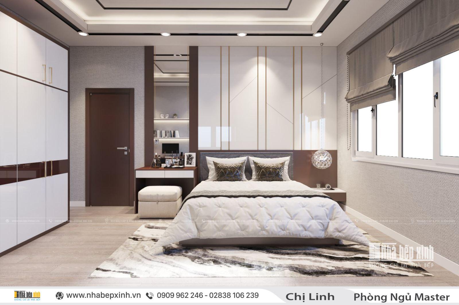 Thiết kế nội thất phòng ngủ hiện đại nhà chị Linh