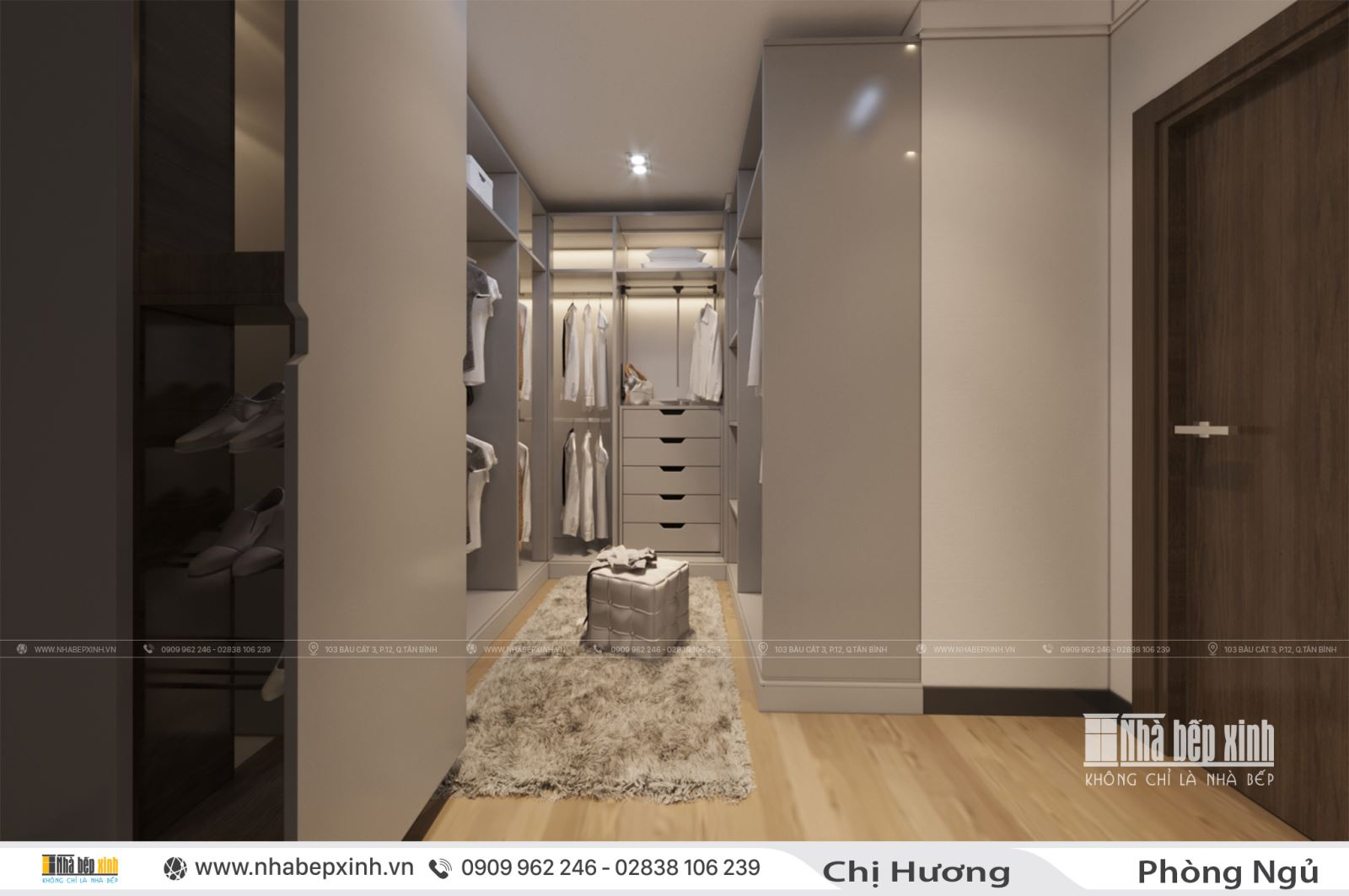 Thiết kế phòng ngủ hiện đại kết hợp phòng thay đồ đẹp