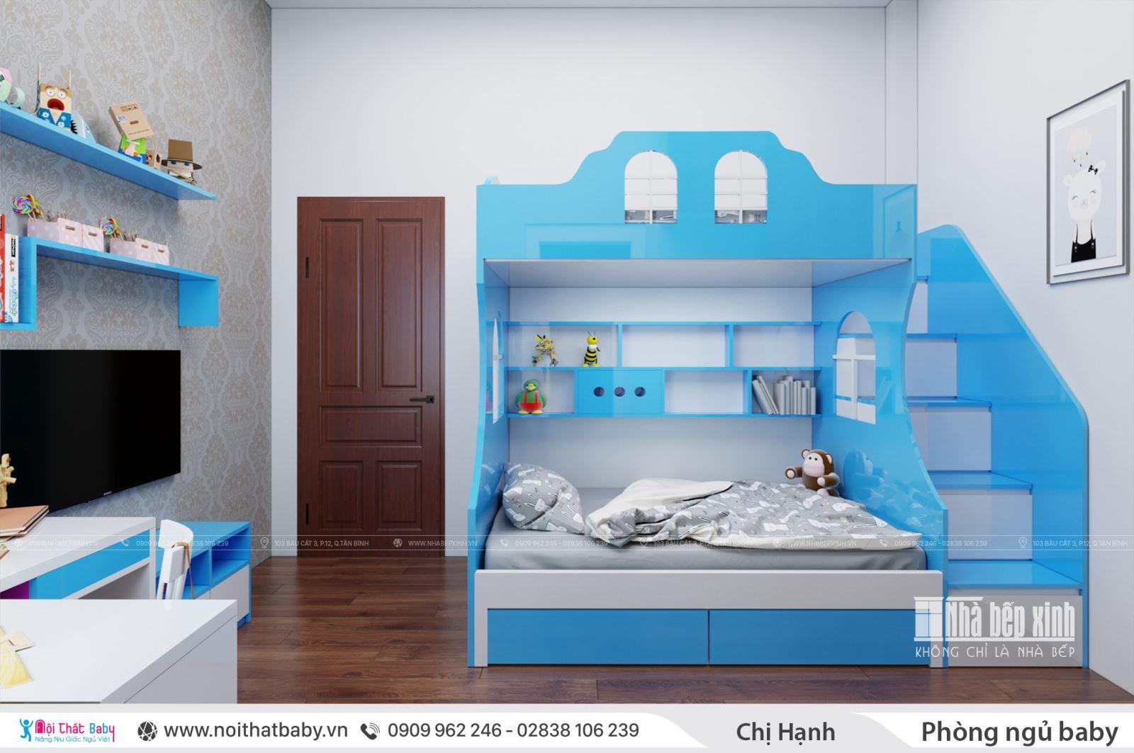 Thiết kế phòng ngủ và học tập cho hai con