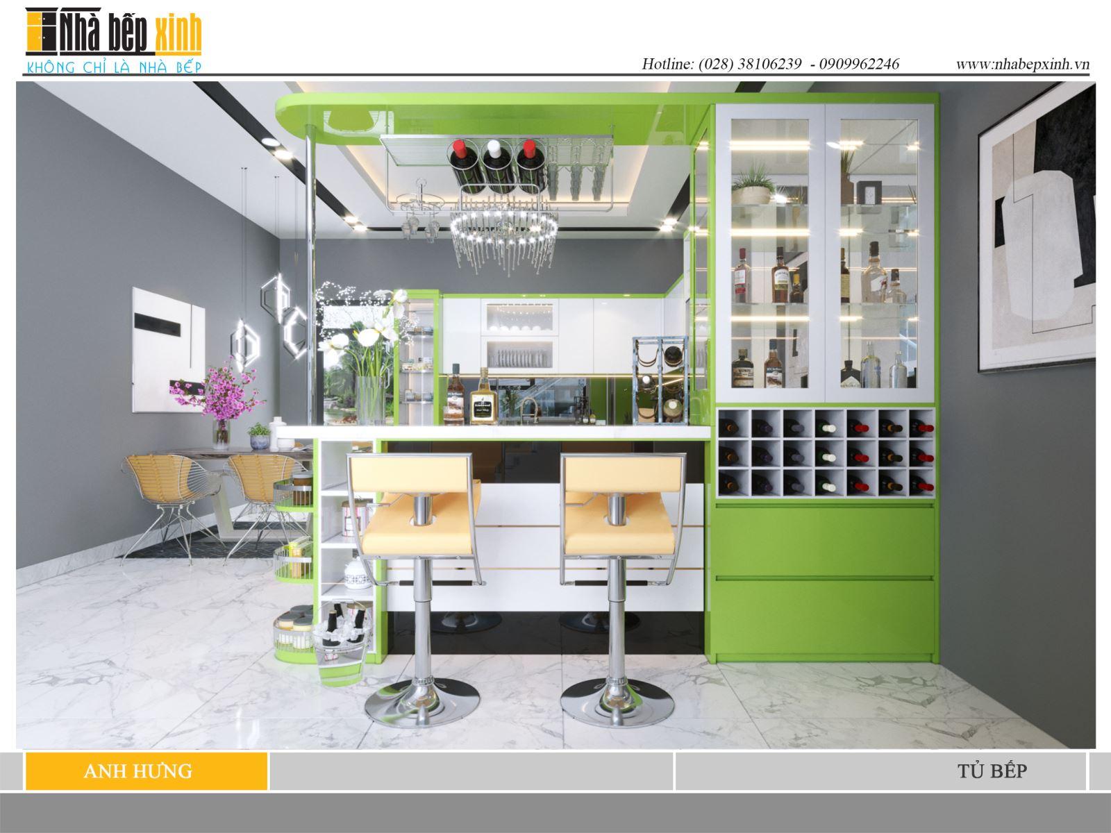 Tủ bếp màu xanh lá cây hiện đại và sang trọng