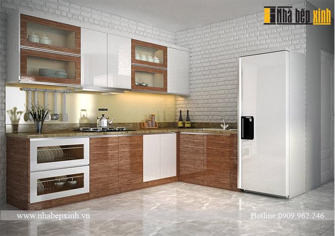 tủ bếp acrylic vân gỗ f1