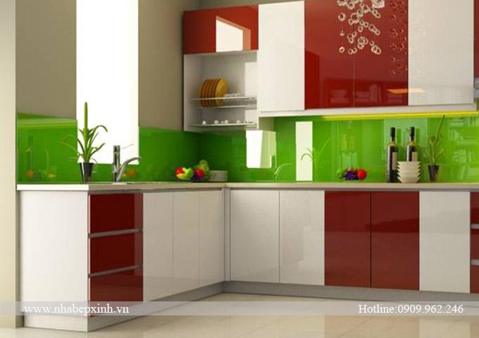 tủ bếp đẹp mà trắng đỏ f3