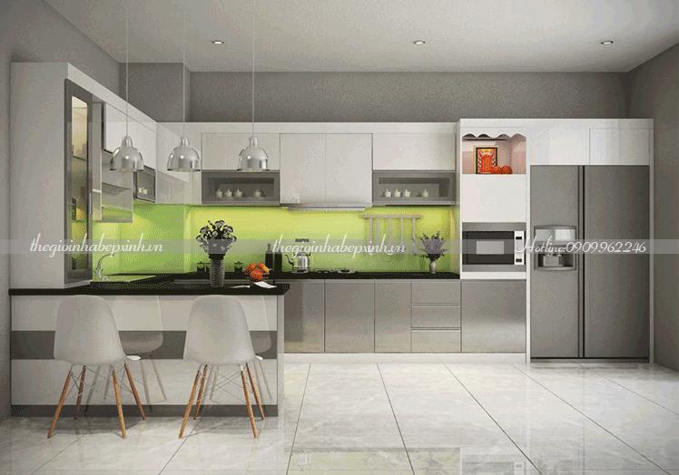 Tủ bếp chữ Acrylic đẹp tiện nghi