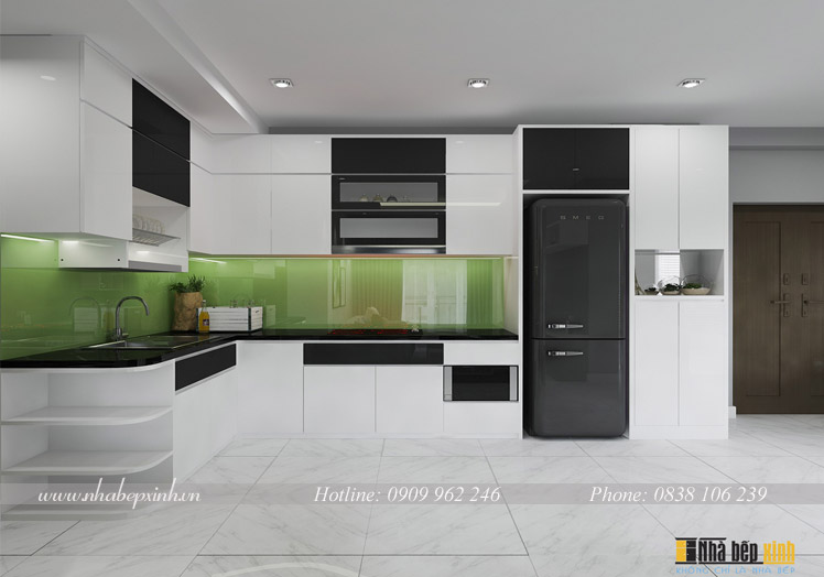 tủ bếp acrylic trắng đen d3
