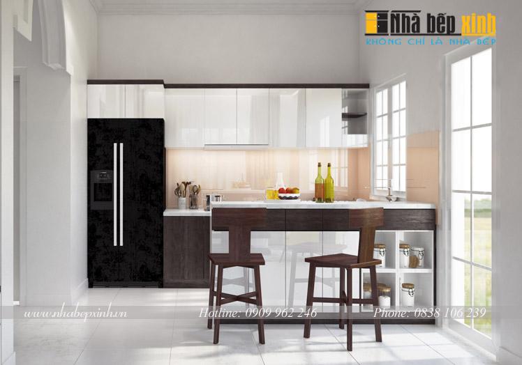 tủ bếp gỗ chữ I kết hợp đảo bếp ci7