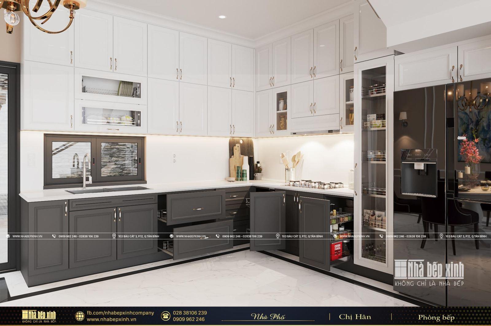 Tủ bếp gỗ tân cổ điển tại Thủ Đức