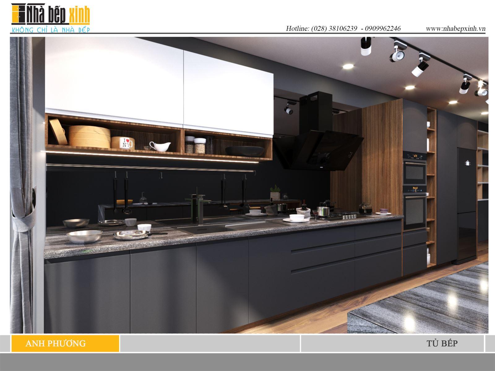 Mẫu tủ bếp hiện đại trầm ấm cho nhà bếp