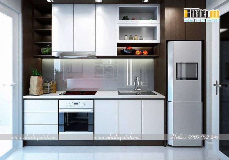 tủ bếp gỗ chữ i cho gian bếp nhỏ d10